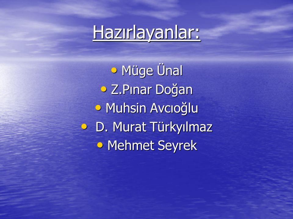 Hazırlayanlar: Müge Ünal Z.Pınar Doğan Muhsin Avcıoğlu