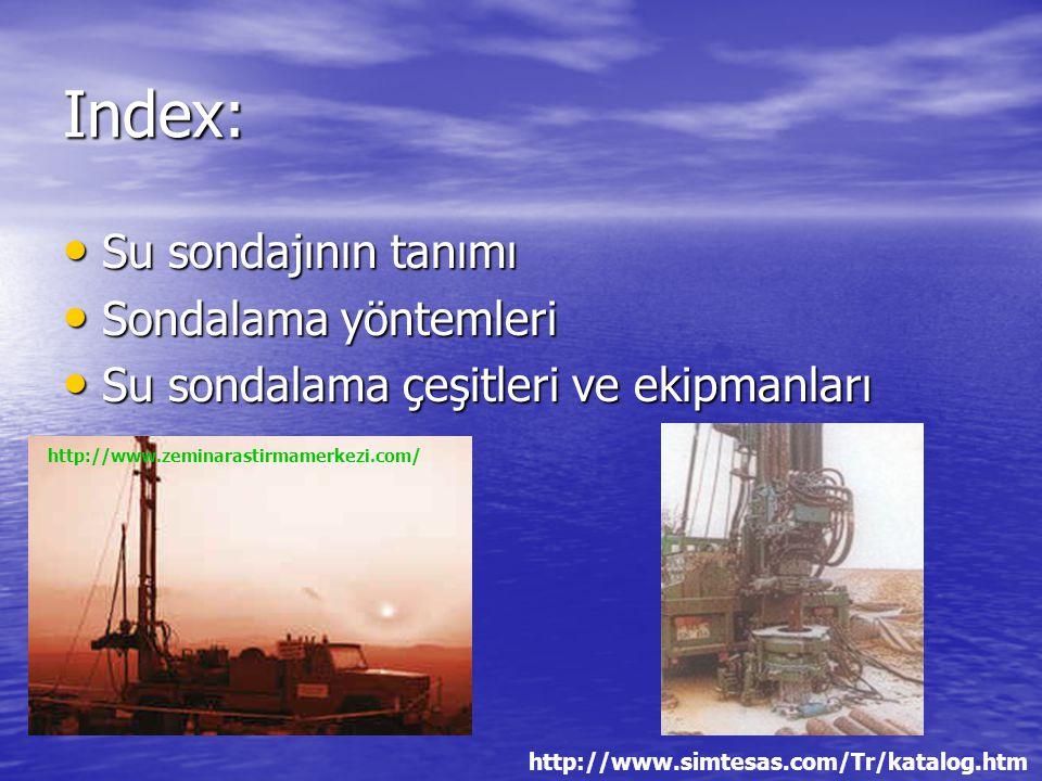 Index: Su sondajının tanımı Sondalama yöntemleri