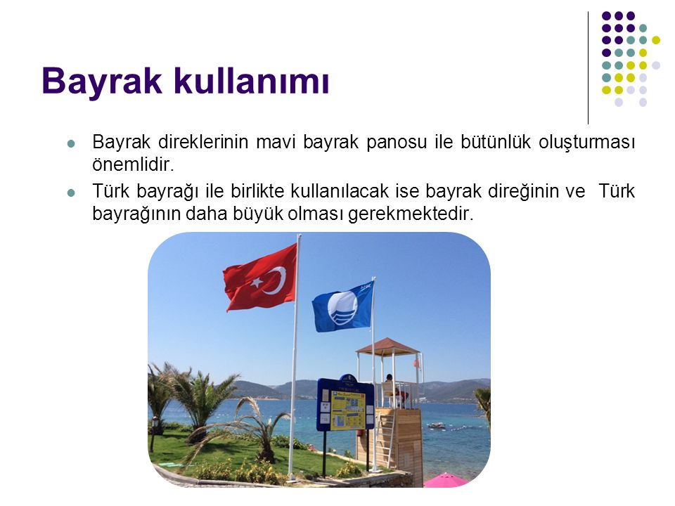 Bayrak kullanımı Bayrak direklerinin mavi bayrak panosu ile bütünlük oluşturması önemlidir.