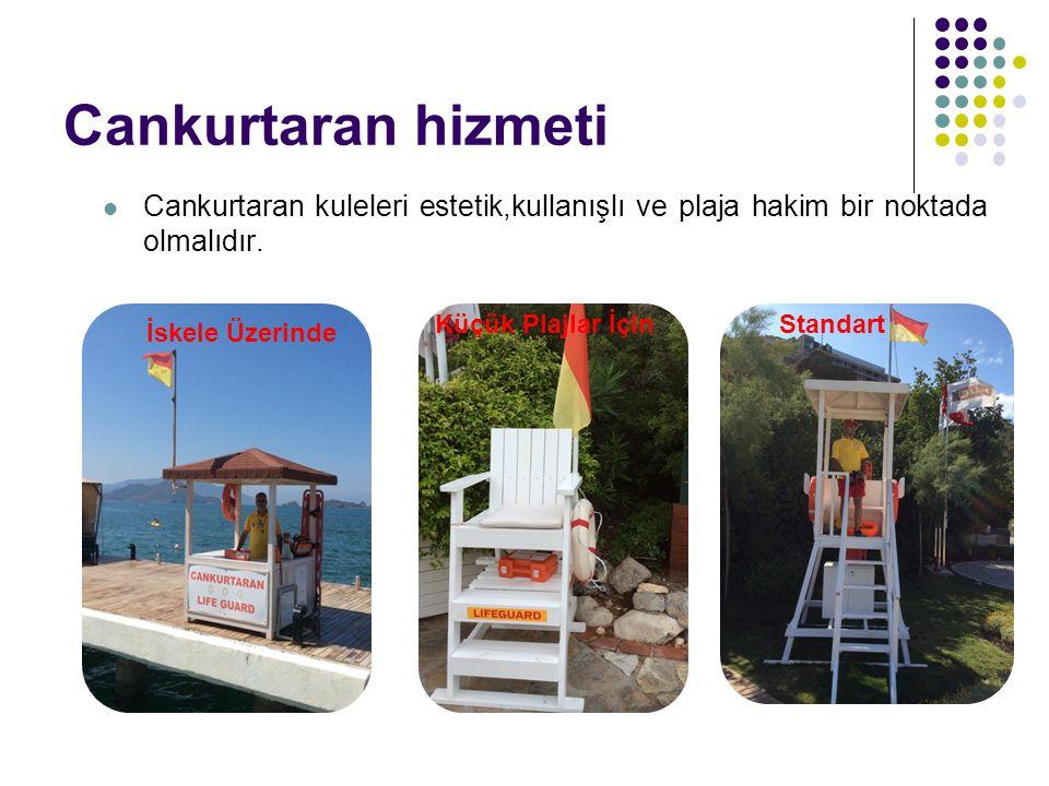 Cankurtaran hizmeti Cankurtaran kuleleri estetik,kullanışlı ve plaja hakim bir noktada olmalıdır. Küçük Plajlar İçin.