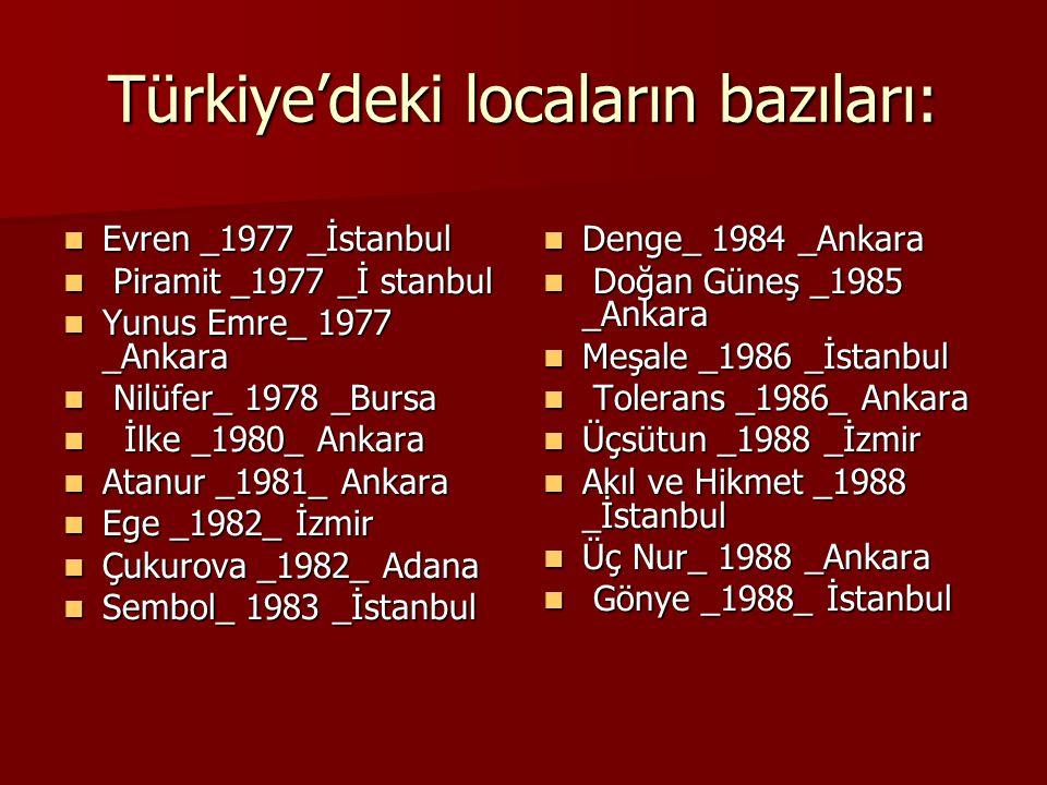 Türkiye'deki locaların bazıları: