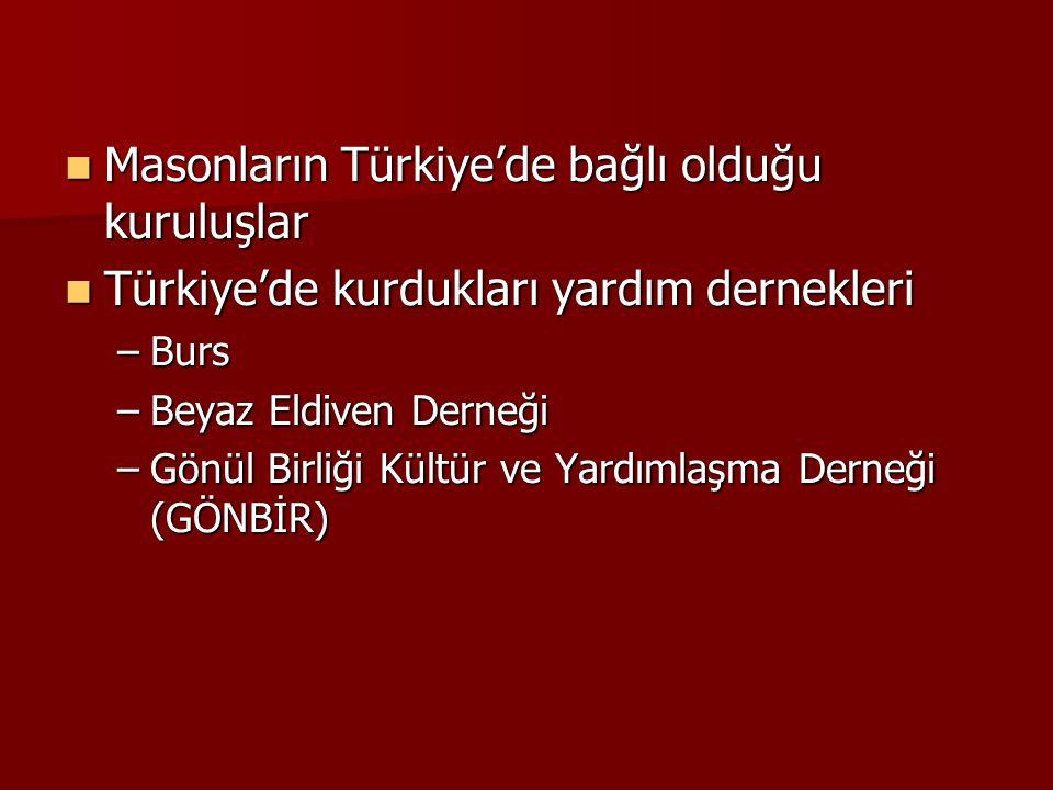 Masonların Türkiye'de bağlı olduğu kuruluşlar