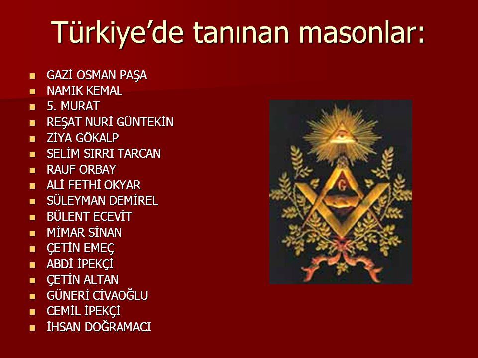Türkiye'de tanınan masonlar: