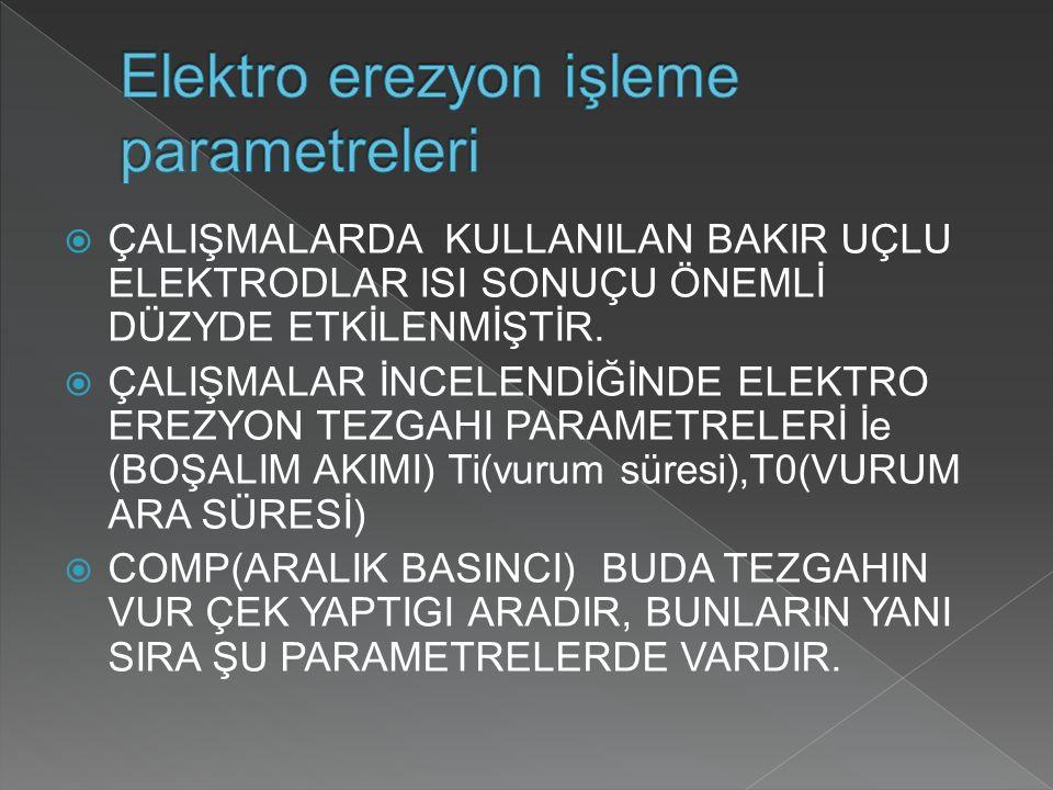 Elektro erezyon işleme parametreleri
