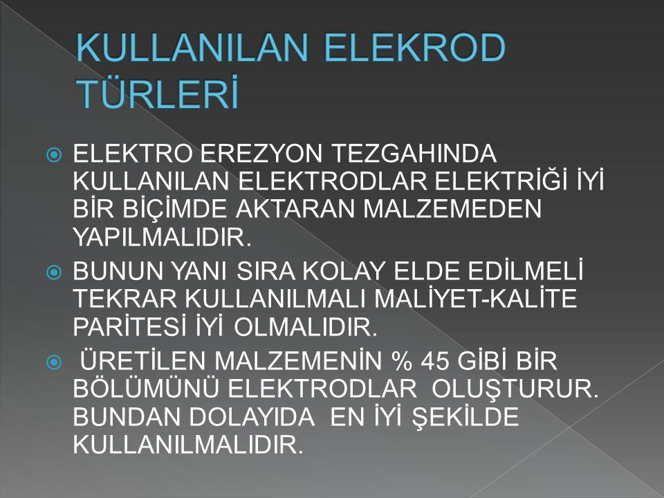 KULLANILAN ELEKROD TÜRLERİ