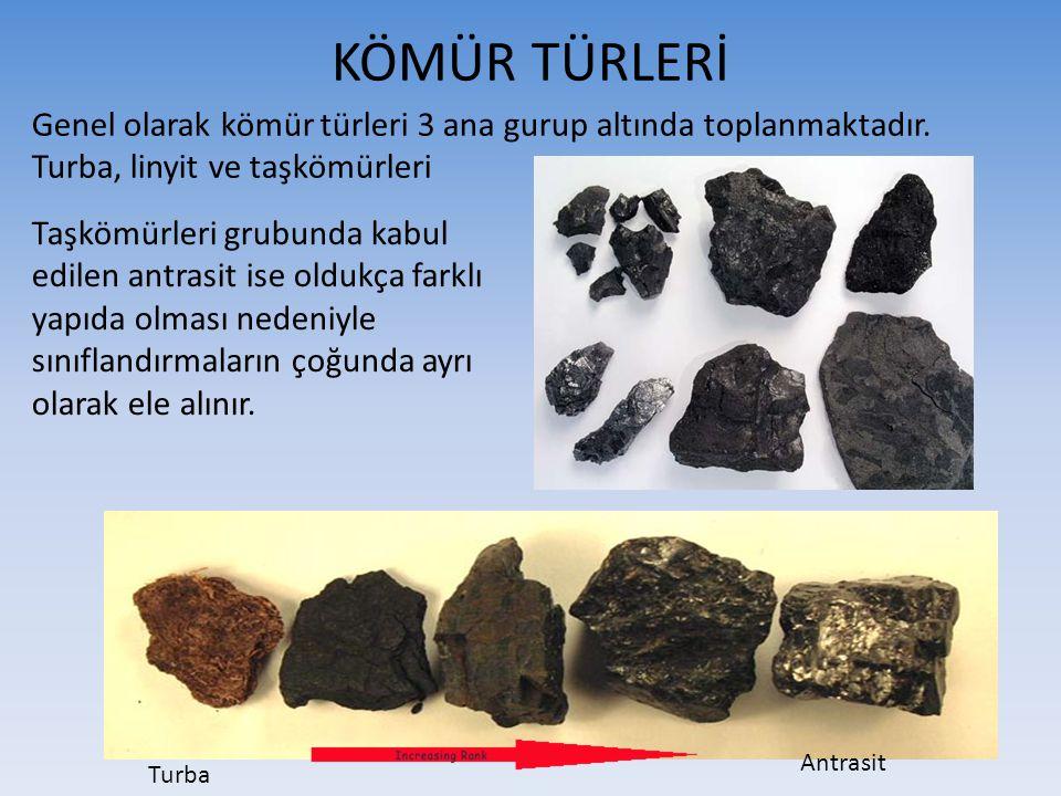 KÖMÜR TÜRLERİ Genel olarak kömür türleri 3 ana gurup altında toplanmaktadır. Turba, linyit ve taşkömürleri.