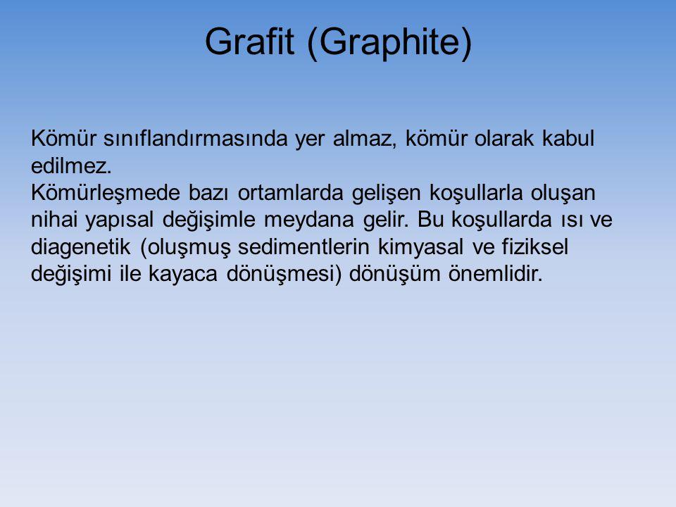 Grafit (Graphite) Kömür sınıflandırmasında yer almaz, kömür olarak kabul edilmez.