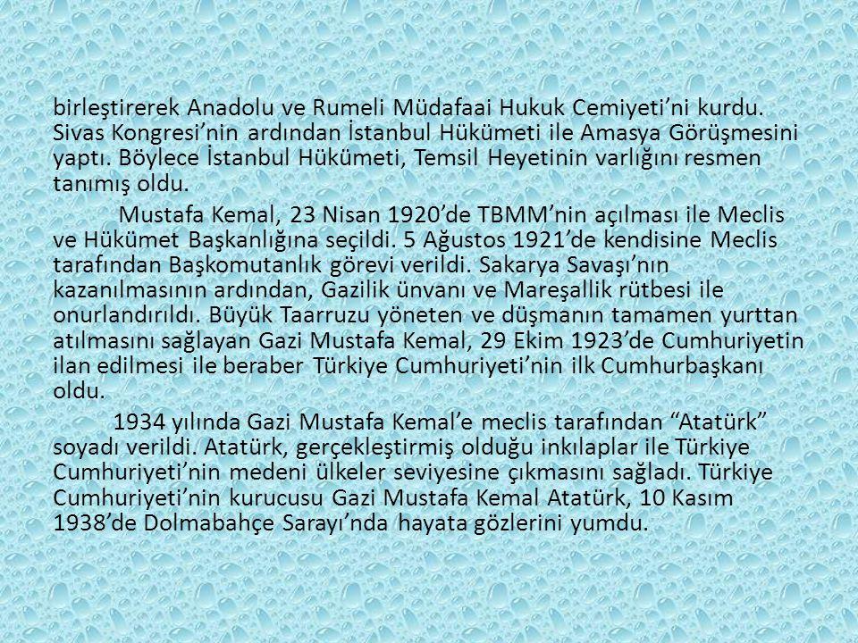 birleştirerek Anadolu ve Rumeli Müdafaai Hukuk Cemiyeti'ni kurdu