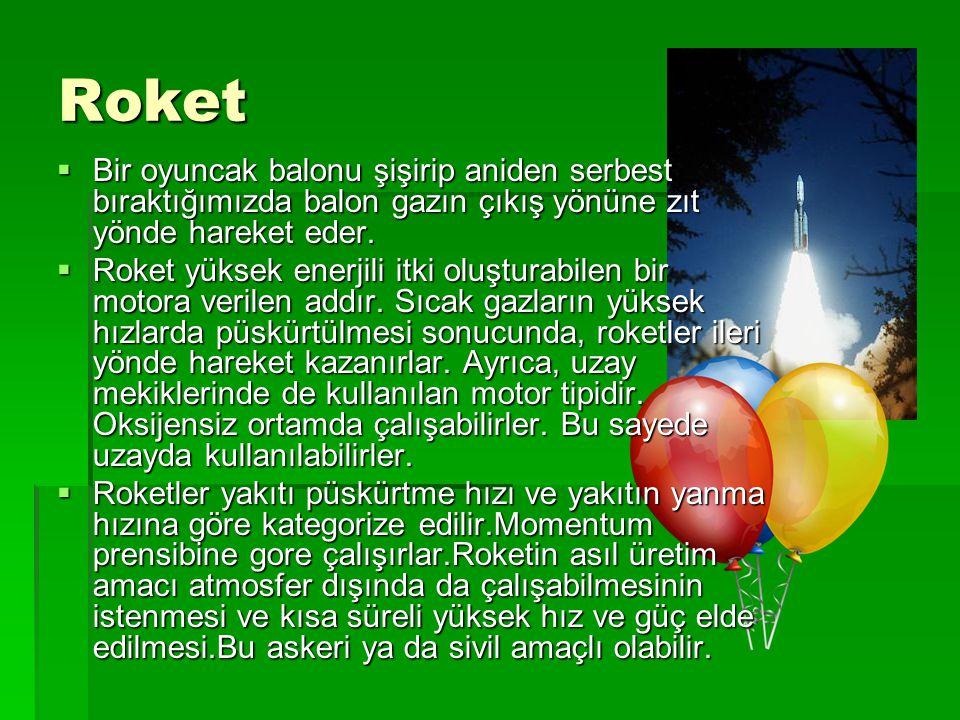 Roket Bir oyuncak balonu şişirip aniden serbest bıraktığımızda balon gazın çıkış yönüne zıt yönde hareket eder.