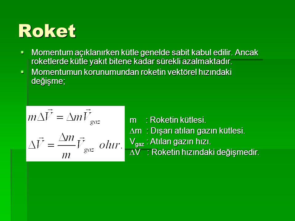 Roket Momentum açıklanırken kütle genelde sabit kabul edilir. Ancak roketlerde kütle yakıt bitene kadar sürekli azalmaktadır.