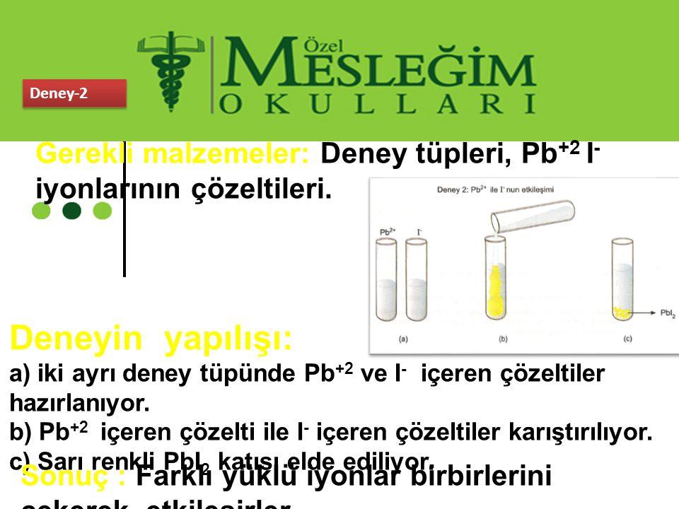 Deney-2 Gerekli malzemeler: Deney tüpleri, Pb+2 I- iyonlarının çözeltileri. Deneyin yapılışı:
