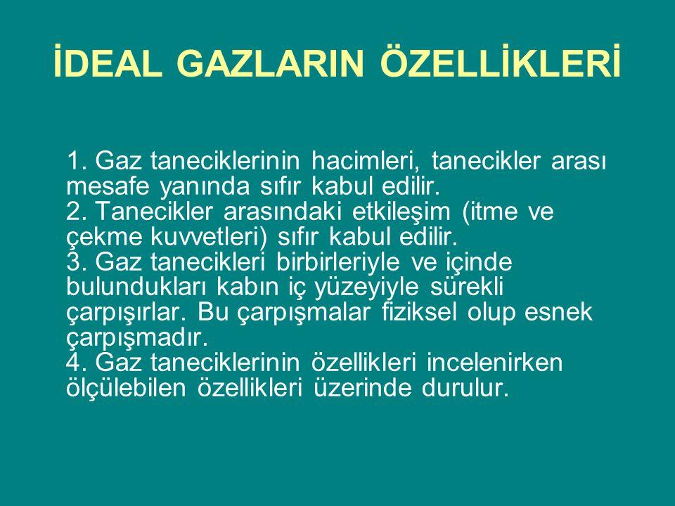 İDEAL GAZLARIN ÖZELLİKLERİ