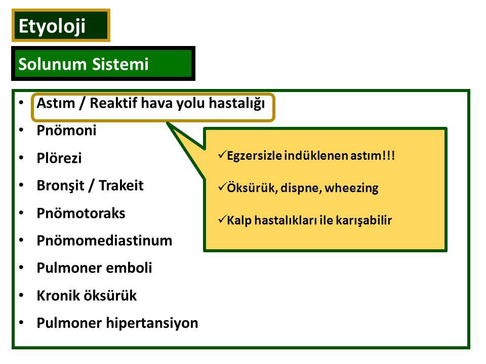 Etyoloji Solunum Sistemi Astım / Reaktif hava yolu hastalığı Pnömoni