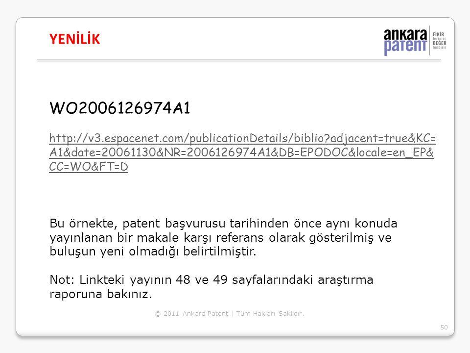 YENİLİK WO2006126974A1.