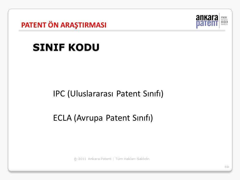 SINIF KODU IPC (Uluslararası Patent Sınıfı)