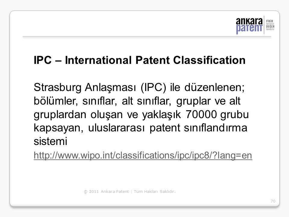 IPC – International Patent Classification