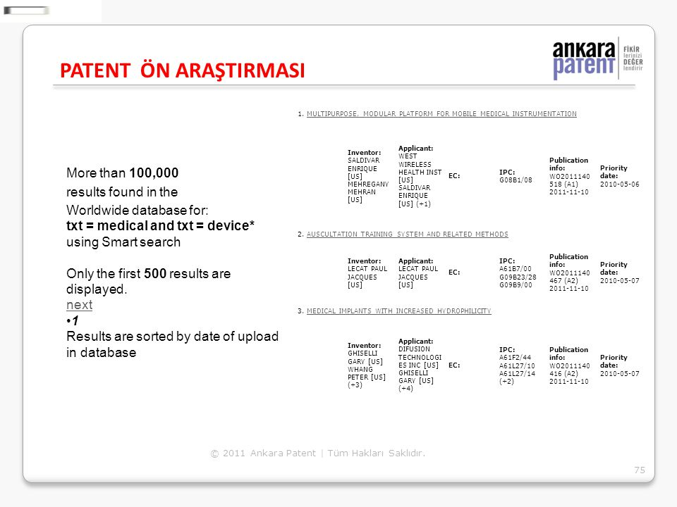 PATENT ÖN ARAŞTIRMASI More than 100,000 results found in the