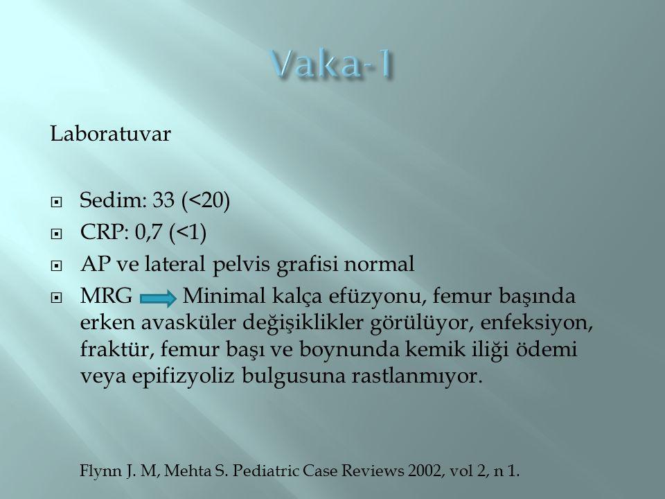 Vaka-1 Laboratuvar Sedim: 33 (<20) CRP: 0,7 (<1)