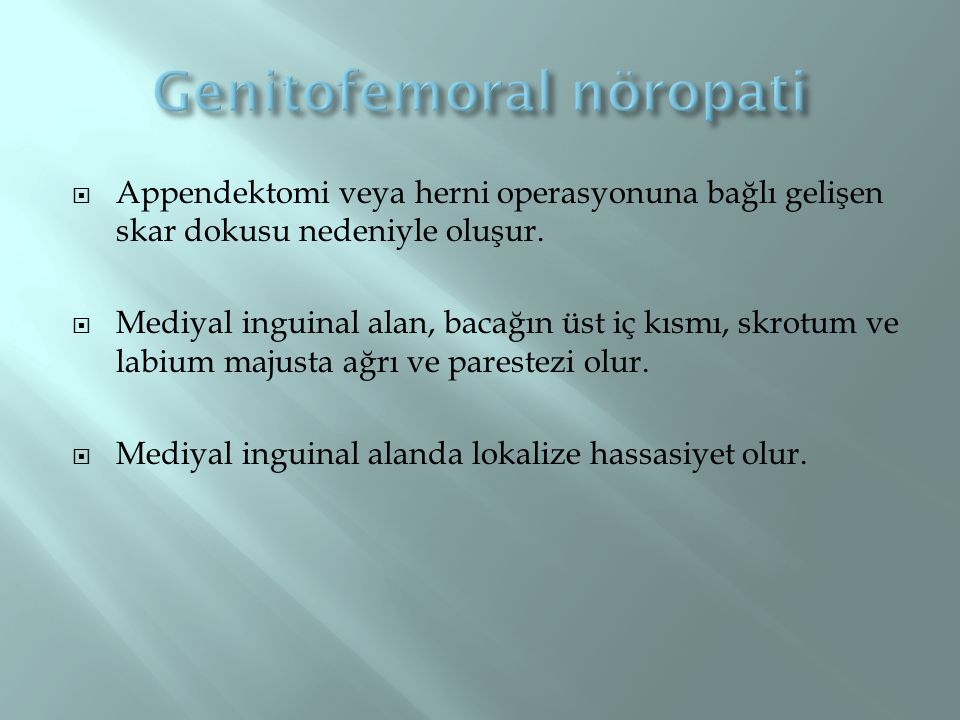 Genitofemoral nöropati