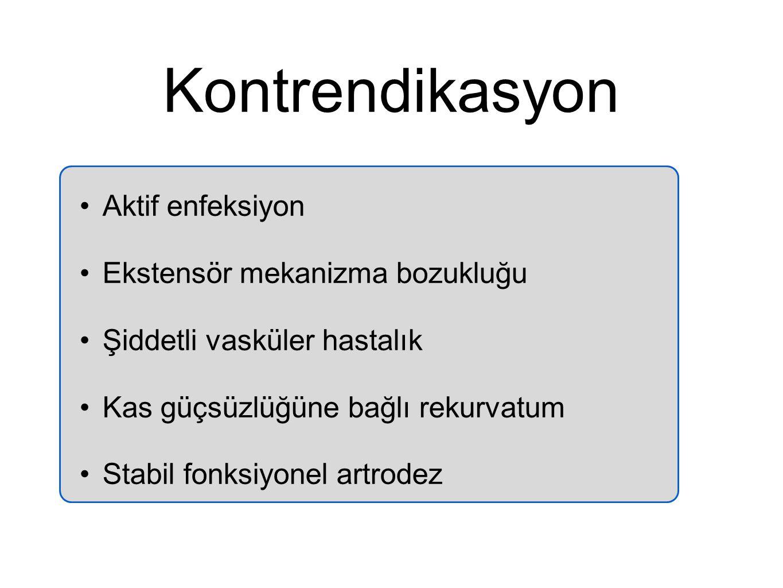 Kontrendikasyon Aktif enfeksiyon Ekstensör mekanizma bozukluğu