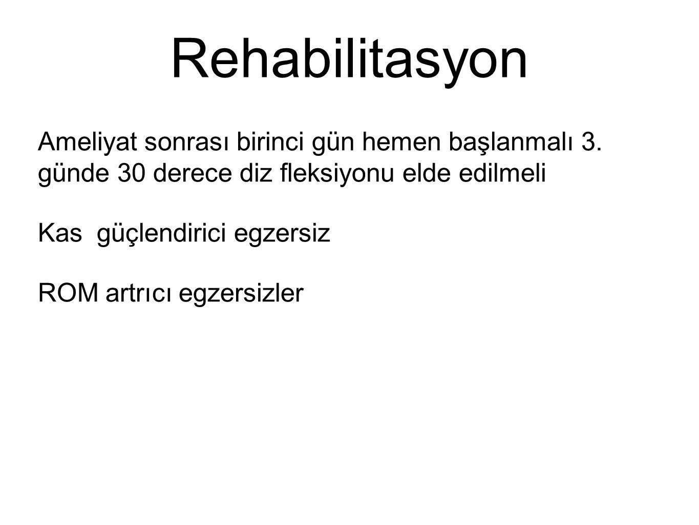 Rehabilitasyon Ameliyat sonrası birinci gün hemen başlanmalı 3. günde 30 derece diz fleksiyonu elde edilmeli.