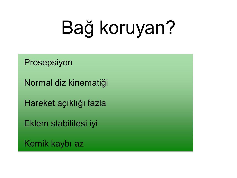 Bağ koruyan Prosepsiyon Normal diz kinematiği Hareket açıklığı fazla