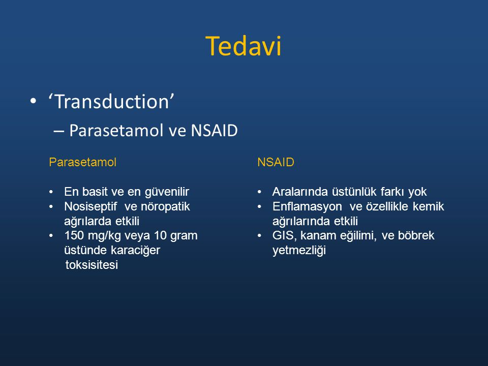 Tedavi 'Transduction' Parasetamol ve NSAID Parasetamol
