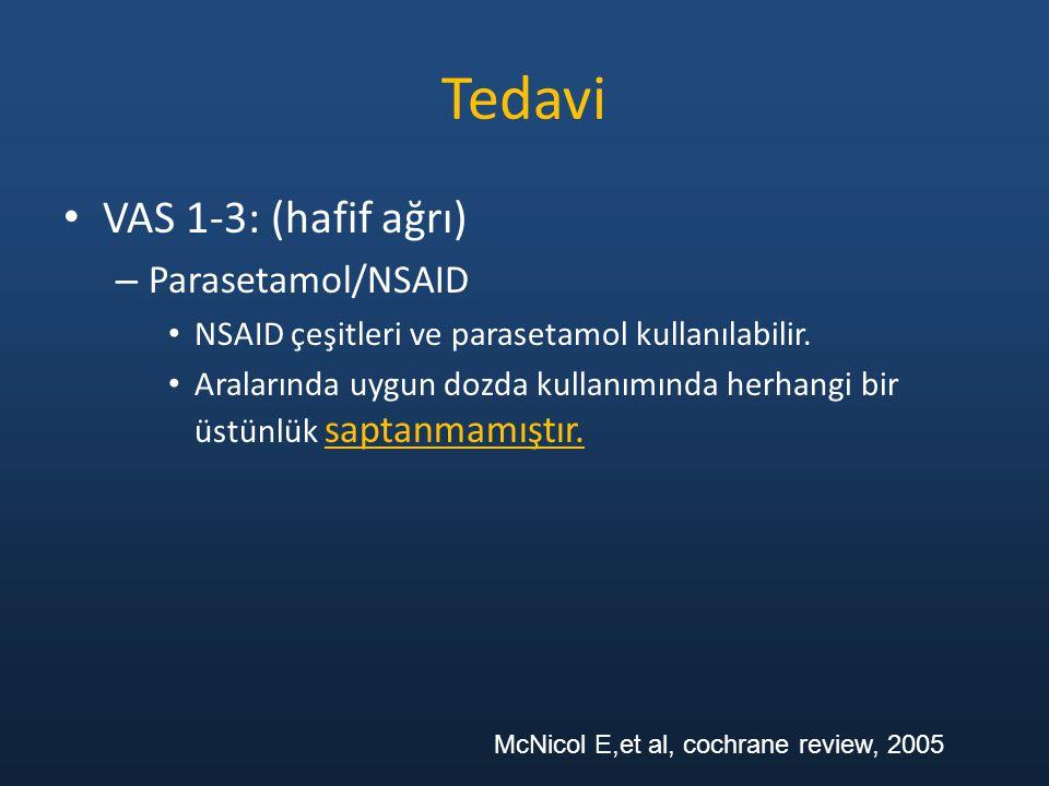 Tedavi VAS 1-3: (hafif ağrı) Parasetamol/NSAID