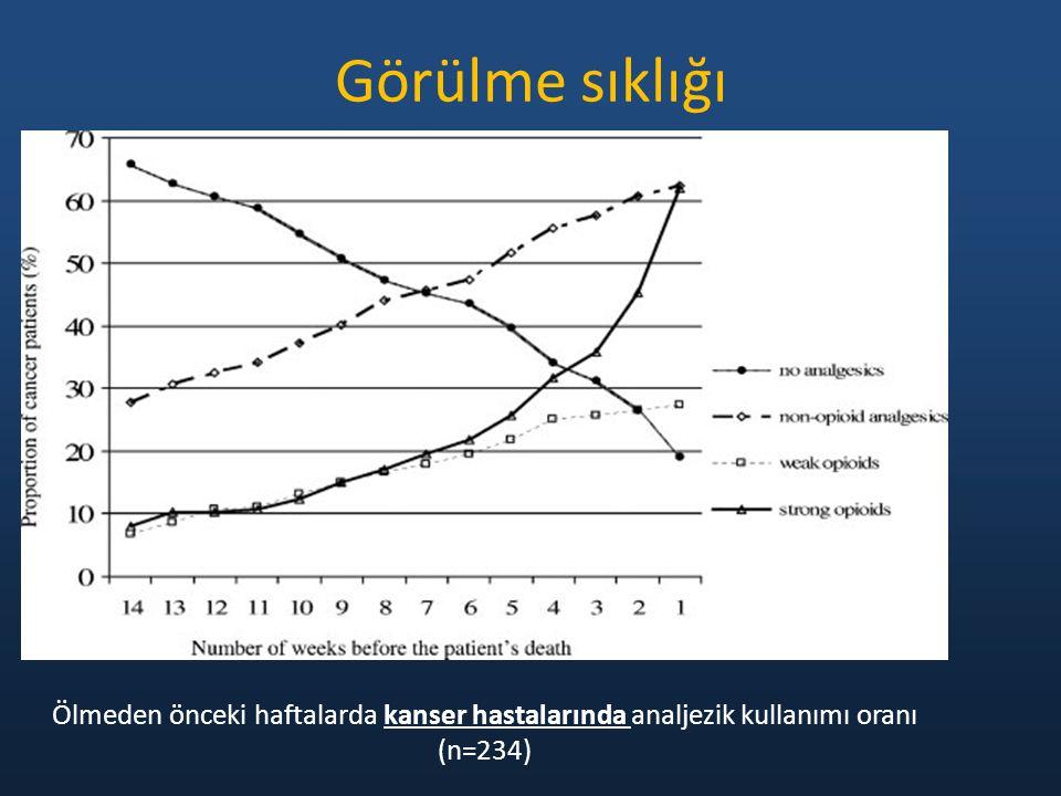 Görülme sıklığı Ölmeden önceki haftalarda kanser hastalarında analjezik kullanımı oranı (n=234)