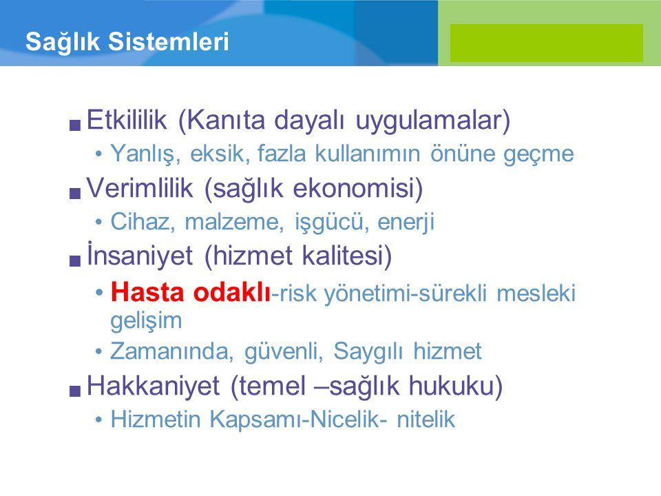Etkililik (Kanıta dayalı uygulamalar) Verimlilik (sağlık ekonomisi)