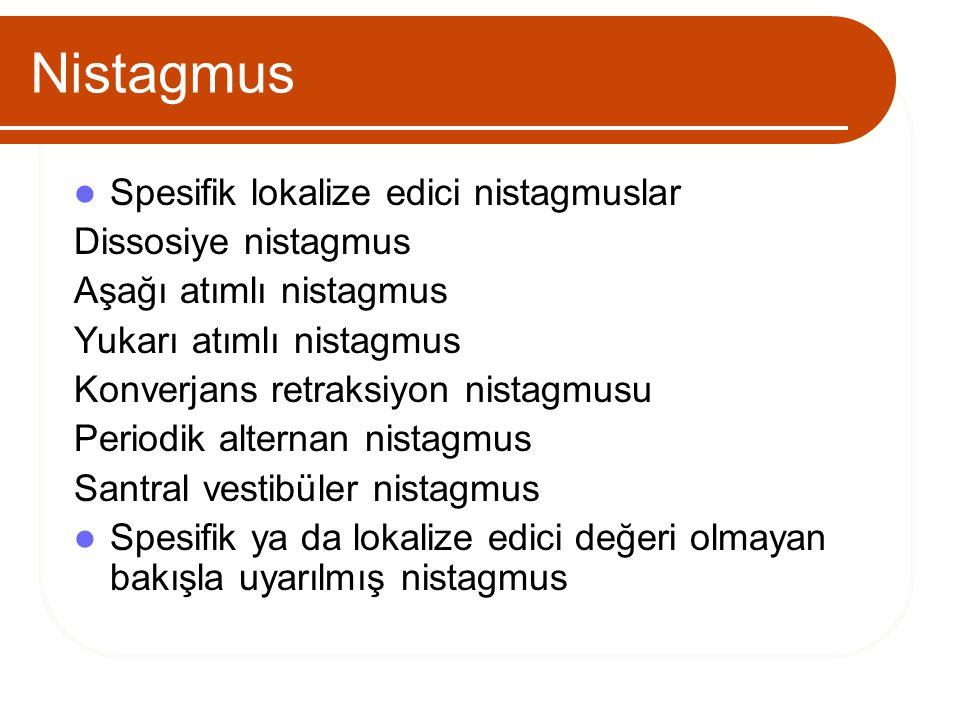 Nistagmus Spesifik lokalize edici nistagmuslar Dissosiye nistagmus