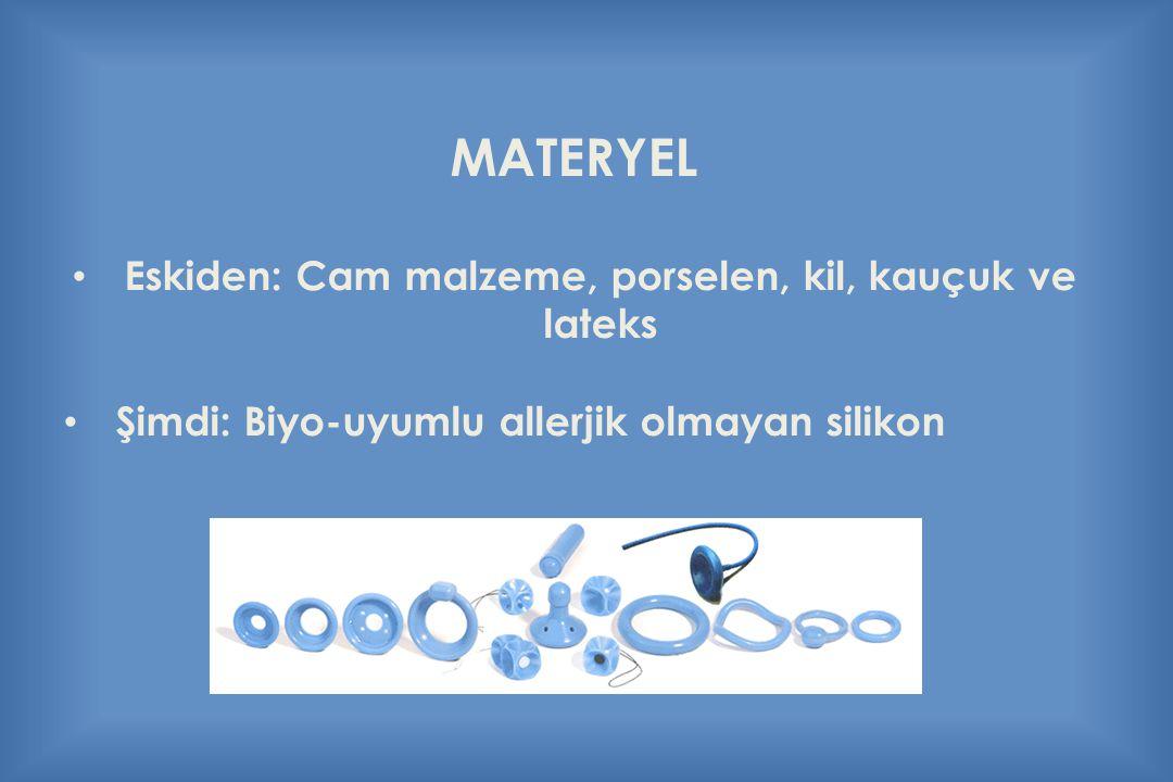 Eskiden: Cam malzeme, porselen, kil, kauçuk ve lateks