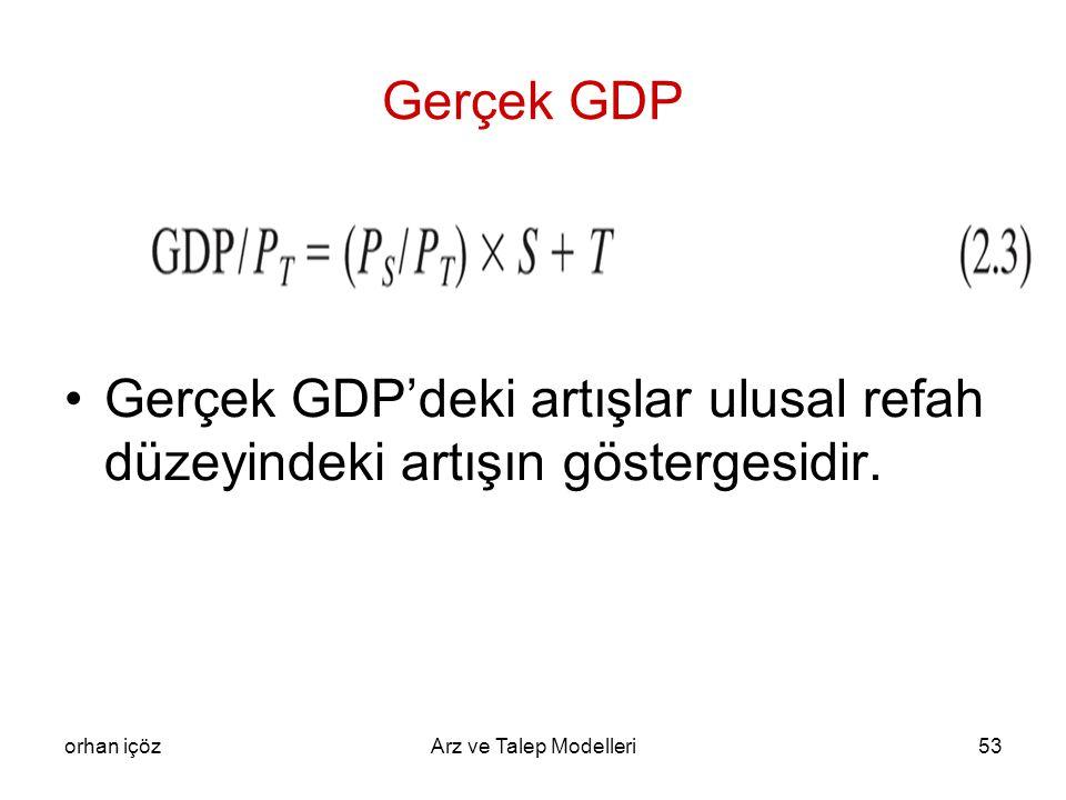 slaytlar Gerçek GDP. Gerçek GDP'deki artışlar ulusal refah düzeyindeki artışın göstergesidir. orhan içöz.