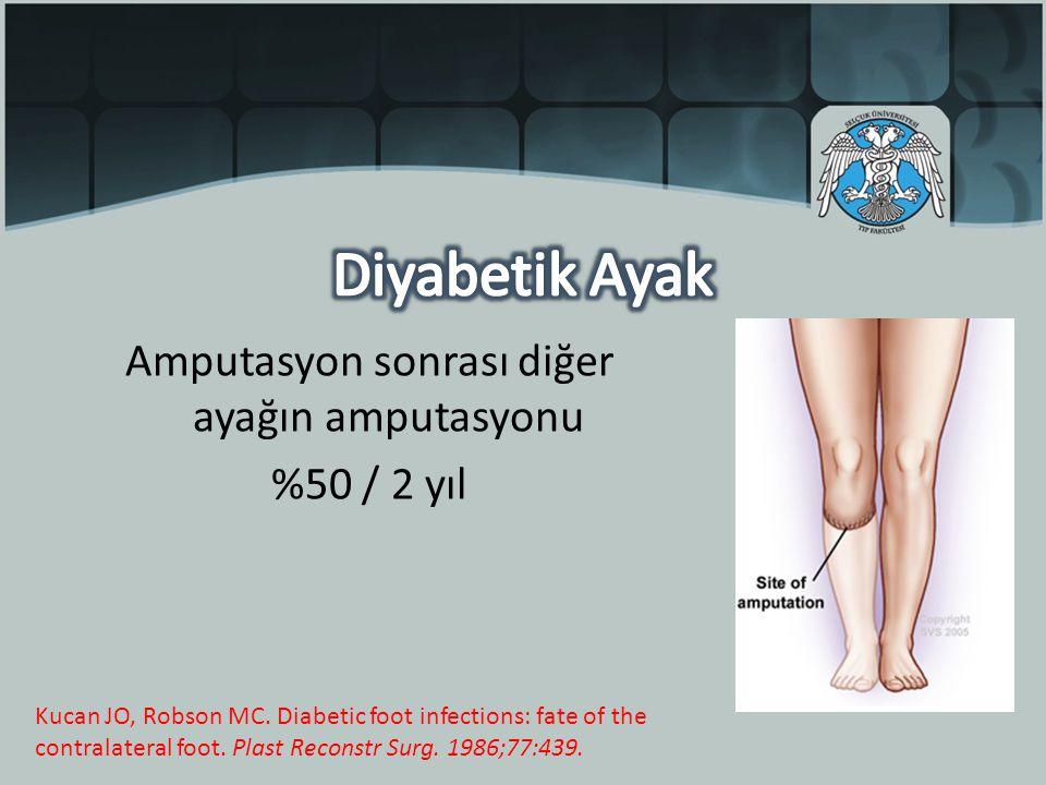 Amputasyon sonrası diğer ayağın amputasyonu %50 / 2 yıl