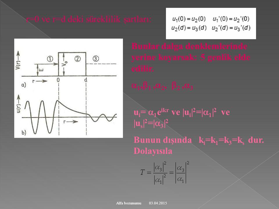 r=0 ve r=d deki süreklilik şartları: