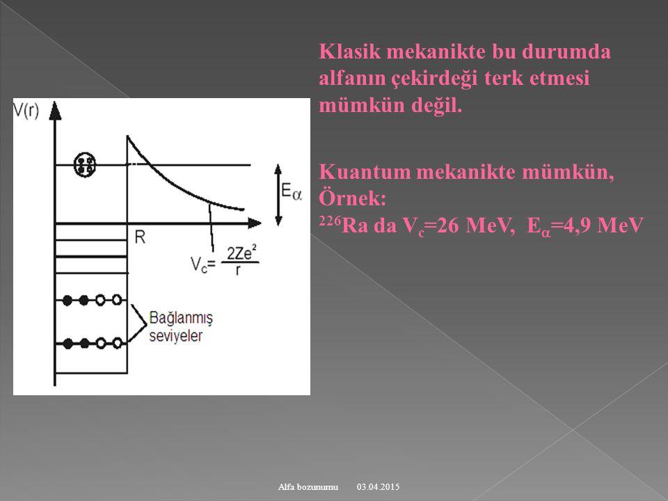 Kuantum mekanikte mümkün, Örnek: 226Ra da Vc=26 MeV, E=4,9 MeV
