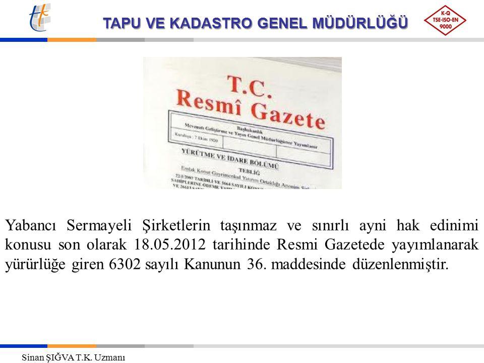 Yabancı Sermayeli Şirketlerin taşınmaz ve sınırlı ayni hak edinimi konusu son olarak 18.05.2012 tarihinde Resmi Gazetede yayımlanarak yürürlüğe giren 6302 sayılı Kanunun 36. maddesinde düzenlenmiştir.
