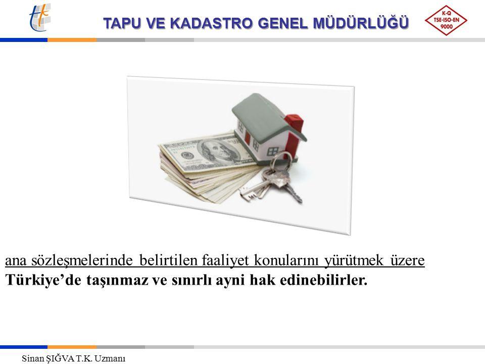 ana sözleşmelerinde belirtilen faaliyet konularını yürütmek üzere Türkiye'de taşınmaz ve sınırlı ayni hak edinebilirler.