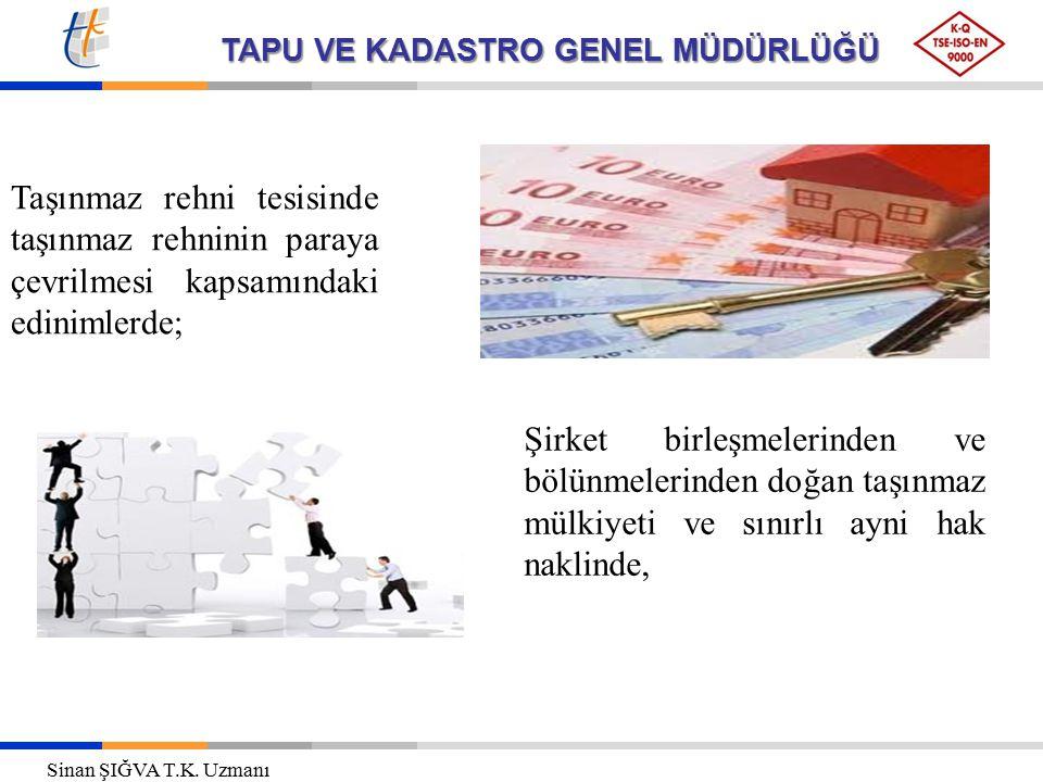 Taşınmaz rehni tesisinde taşınmaz rehninin paraya çevrilmesi kapsamındaki edinimlerde;