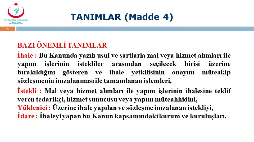 TANIMLAR (Madde 4)