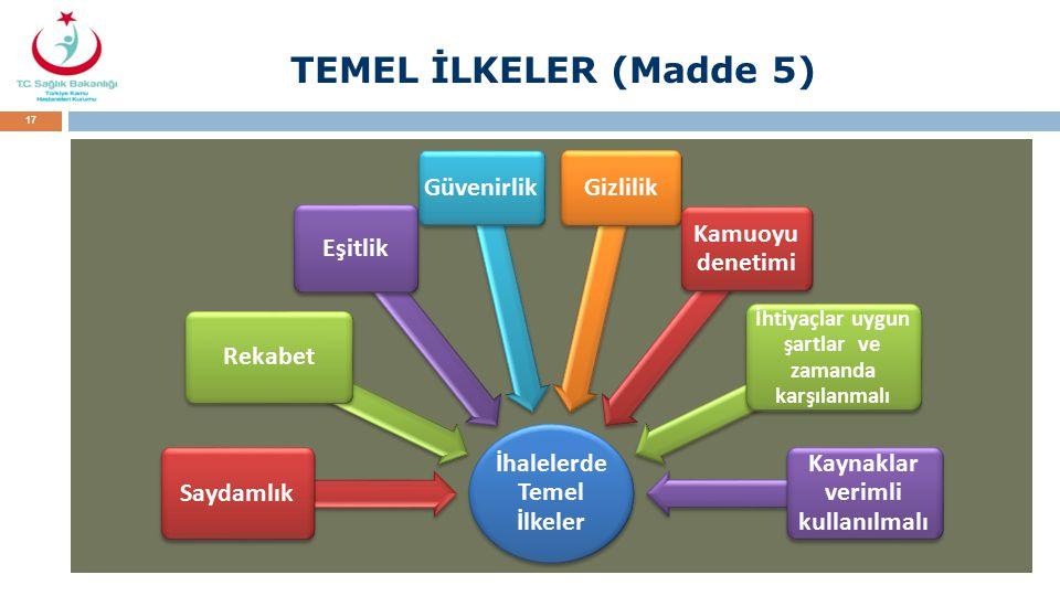 TEMEL İLKELER (Madde 5) İhalelerde Temel İlkeler Saydamlık Rekabet
