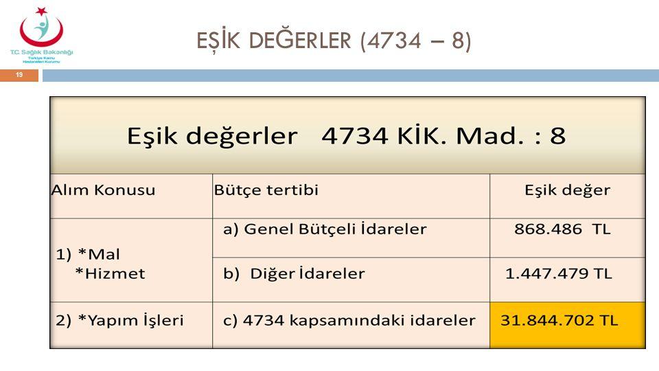 EŞİK DEĞERLER (4734 – 8)
