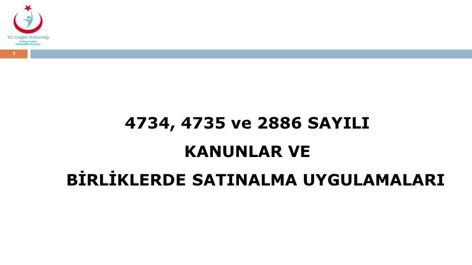 4734, 4735 ve 2886 SAYILI KANUNLAR VE BİRLİKLERDE SATINALMA UYGULAMALARI