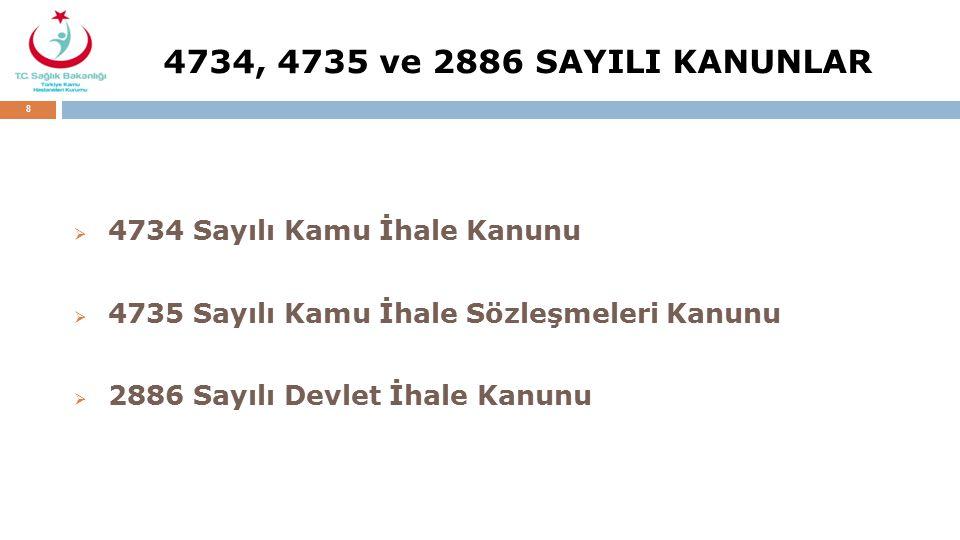 4734, 4735 ve 2886 SAYILI KANUNLAR 4734 Sayılı Kamu İhale Kanunu