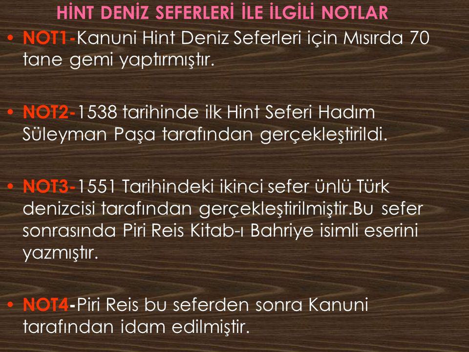 HİNT DENİZ SEFERLERİ İLE İLGİLİ NOTLAR