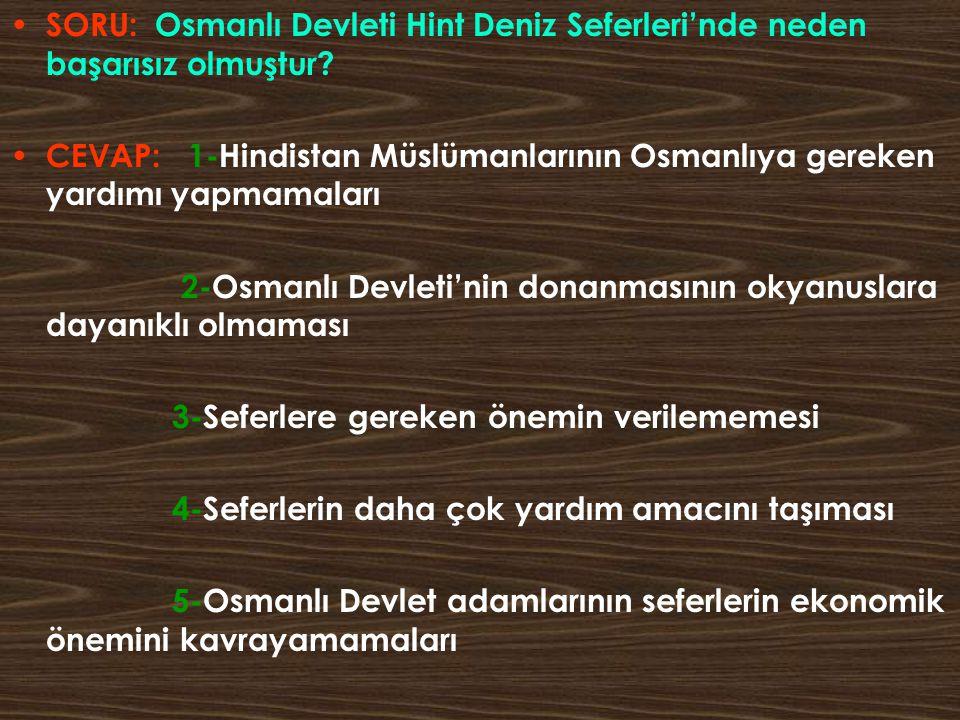SORU: Osmanlı Devleti Hint Deniz Seferleri'nde neden başarısız olmuştur