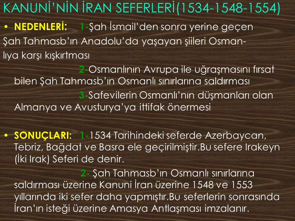 KANUNİ'NİN İRAN SEFERLERİ(1534-1548-1554)