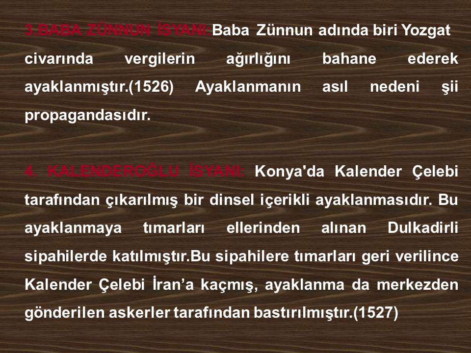 3.BABA ZÜNNUN İSYANI:Baba Zünnun adında biri Yozgat