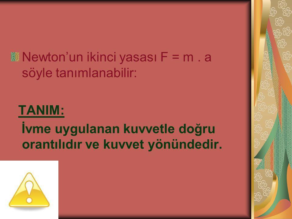 Newton'un ikinci yasası F = m . a söyle tanımlanabilir: