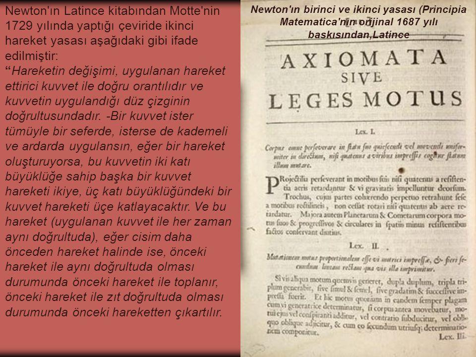 Newton ın birinci ve ikinci yasası (Principia Matematica nın orijinal 1687 yılı baskısından,Latince